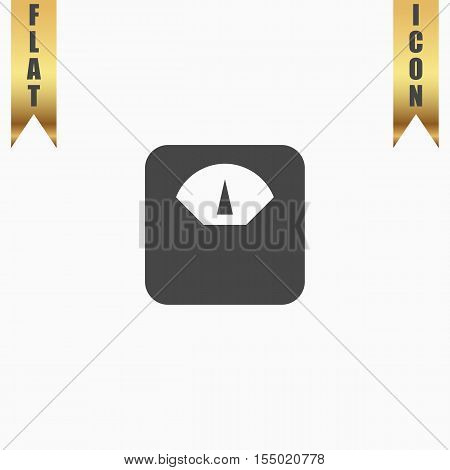 Weighting apparatus. Flat Icon. Vector illustration grey symbol on white background with gold ribbon
