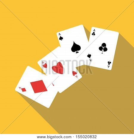 Four aces playing cards icon. Flat illustration of four aces playing cards vector icon for web