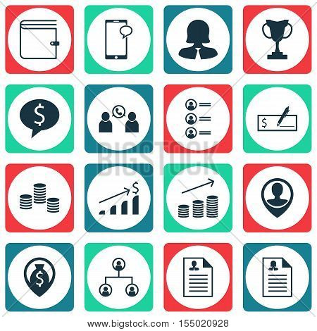 Set Of Management Icons On Female Application, Coins Growth And Business Woman Topics. Editable Vect