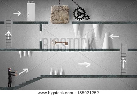 Businessman blindfolded trying to make an obstacle path. career with obstacles concept