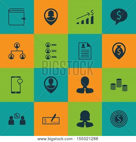 Set Of Hr Icons On Bank Payment, Manager And Successful Investment Topics. Editable Vector Illustrat