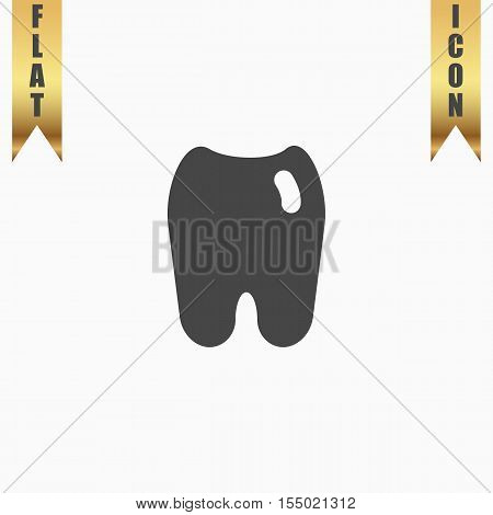 Tooth. Flat Icon. Vector illustration grey symbol on white background with gold ribbon