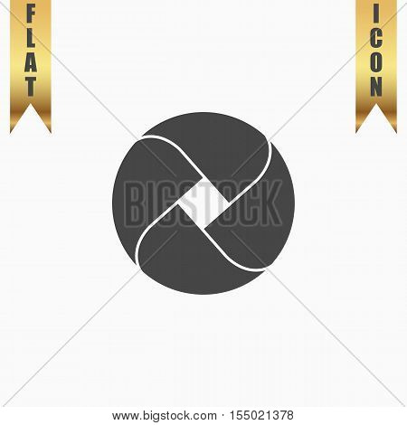 Loop circle. Flat Icon. Vector illustration grey symbol on white background with gold ribbon