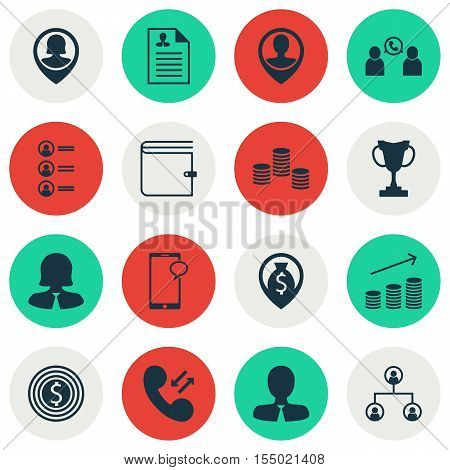 Set Of Human Resources Icons On Job Applicants, Wallet And Money Navigation Topics. Editable Vector