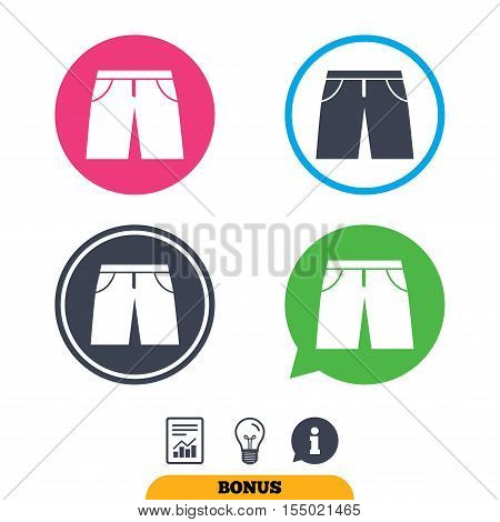 Men's Bermuda shorts sign icon. Clothing symbol. Report document, information sign and light bulb icons. Vector