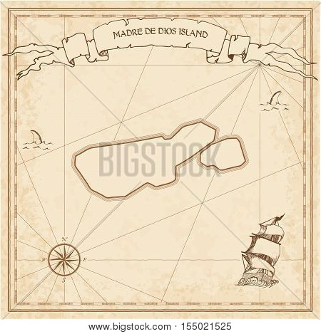 Madre De Dios Island Old Treasure Map. Sepia Engraved Template Of Pirate Island Parchment. Stylized