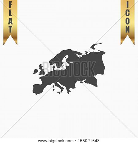 Eurasia map. Flat Icon. Vector illustration grey symbol on white background with gold ribbon poster