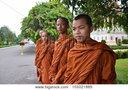 Monks Tour The Royal Palace In Phnom Penh, Cambodia