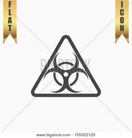Biohazard. Flat Icon. Vector illustration grey symbol on white background with gold ribbon