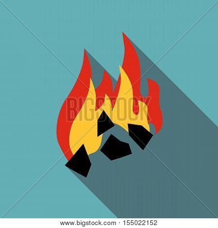 Burning black coal icon. Flat illustration of burning black coal vector icon for web