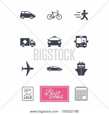 Transport icons. Car, bike, bus and taxi signs. Shipping delivery, ambulance symbols. Report document, calendar icons. Vector
