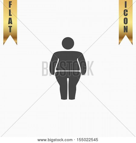Overweight man symbol. Flat Icon. Vector illustration grey symbol on white background with gold ribbon