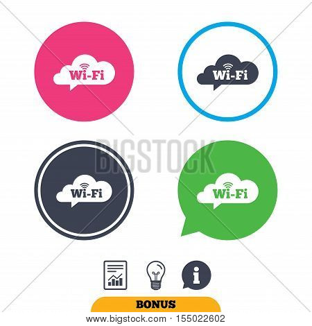 Free wifi sign. Wifi symbol. Wireless Network icon. Wifi zone. Report document, information sign and light bulb icons. Vector