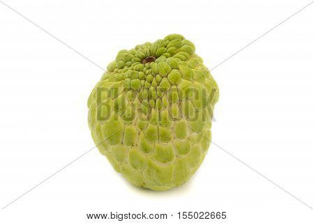 Sugar apple or custard apple annona sweetsop isolated on white background is native fruit of thailand