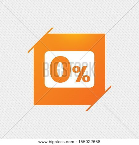 Zero percent sign icon. Zero credit symbol. Best offer. Orange square label on pattern. Vector