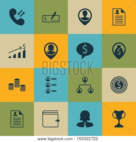 Set Of Human Resources Icons On Cellular Data, Money And Tree Structure Topics. Editable Vector Illu
