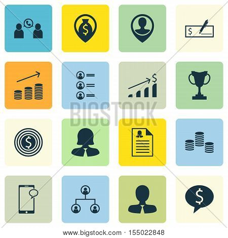 Set Of Management Icons On Tree Structure, Business Woman And Business Deal Topics. Editable Vector