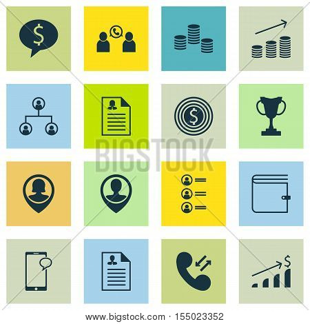Set Of Management Icons On Successful Investment, Tree Structure And Cellular Data Topics. Editable
