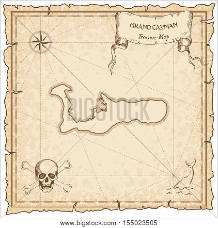 Grand Cayman Old Pirate Map. Sepia Engraved Parchment Template Of Treasure Island. Stylized Manuscri
