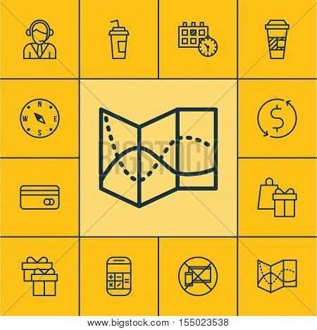 Set Of Traveling Icons On Money Trasnfer, Plastic Card And Shopping Topics. Editable Vector Illustra