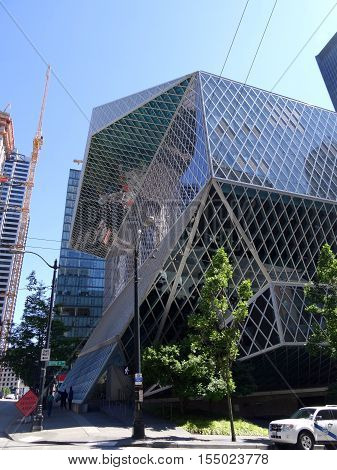 SEATTLE - JUNE 25: Public Library in Seattle on June 25 2016. The Seattle Central Library opened in 2004 and was designed by Rem Koolhaas and Joshua Prince-Ramus.