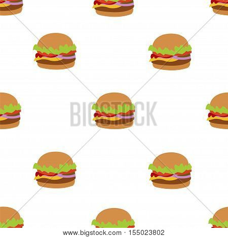 Seamless vector pattern with flat style burger image. Burger white background. Image of flat burger. Burger icon seamless background. White pattern with burger.