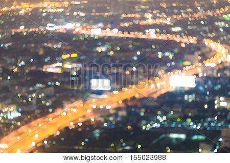 City Light Blur Bokeh, Defocused Background.