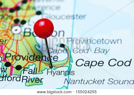 Hyannis pinned on a map of Massachusetts, USA