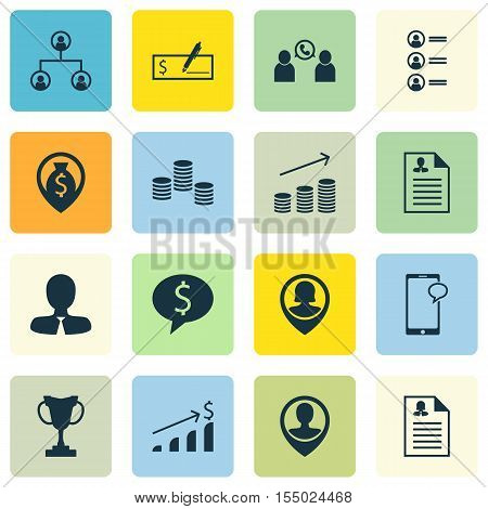 Set Of Hr Icons On Coins Growth, Manager And Pin Employee Topics. Editable Vector Illustration. Incl