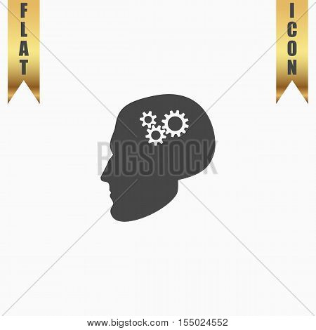 Human head gear hybrid knowledge. Flat Icon. Vector illustration grey symbol on white background with gold ribbon