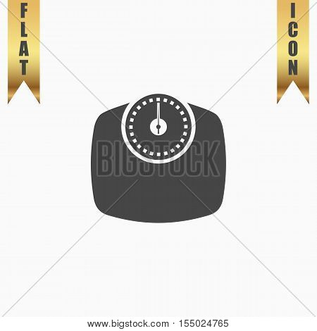 Bathroom scale. Flat Icon. Vector illustration grey symbol on white background with gold ribbon