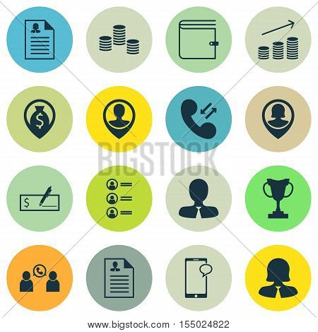 Set Of Hr Icons On Cellular Data, Employee Location And Wallet Topics. Editable Vector Illustration.