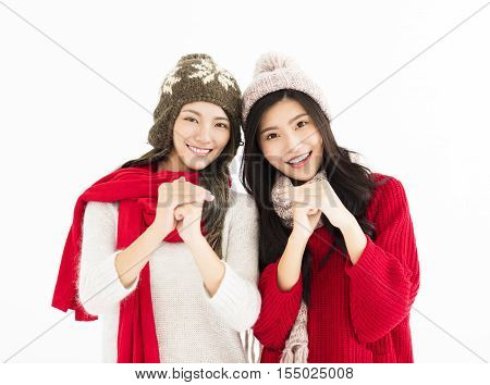 happy chinese new year.young woman with congratulation gesture