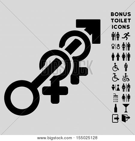 Harem icon and bonus male and lady restroom symbols. Vector illustration style is flat iconic symbols, black color, light gray background.