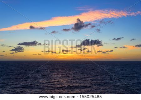 Moments before a beautiful sunrise on the gulf of mexico