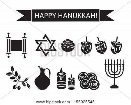 Hanukkah set black silhouette icons. Chanukah outline silhouette Icons with Menorah Torah Sufganiyot Olives and Dreidel. Happy Hanukkah Festival of Lights symbol. Vector illyustration