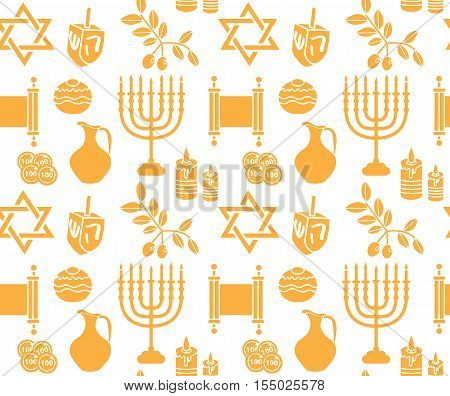 Hanukkah symbol seamless pattern. Hanukkah background with Menorah Torah Sufganiyot Olives and Dreidel. Happy Hanukkah Festival of Lights Feast of Dedication seamless texture. Vector illustration
