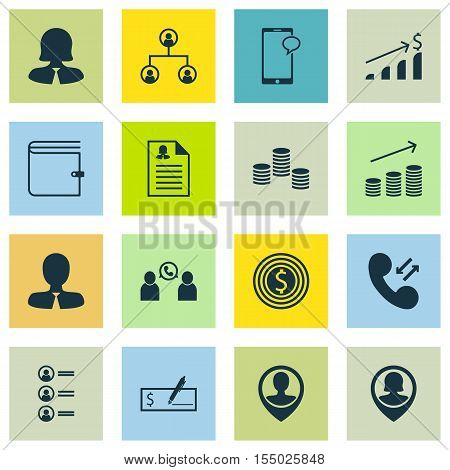 Set Of Management Icons On Money, Wallet And Messaging Topics. Editable Vector Illustration. Include