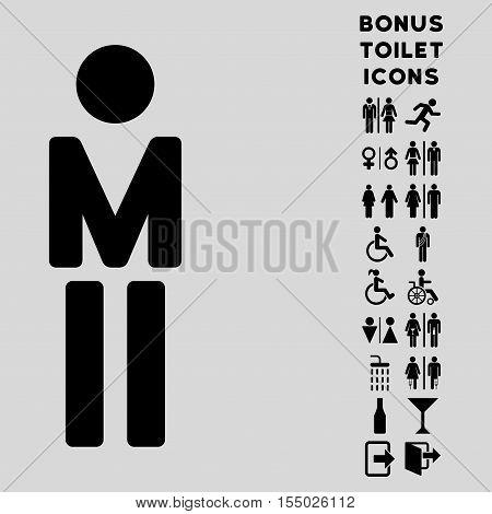 Man icon and bonus male and lady toilet symbols. Vector illustration style is flat iconic symbols, black color, light gray background.