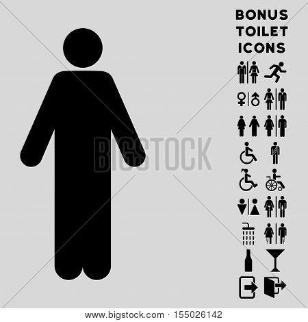 Man icon and bonus man and woman lavatory symbols. Vector illustration style is flat iconic symbols, black color, light gray background.