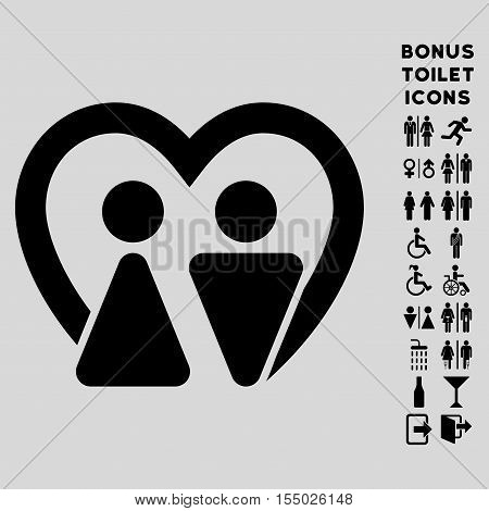 Marriage icon and bonus gentleman and female WC symbols. Vector illustration style is flat iconic symbols, black color, light gray background.