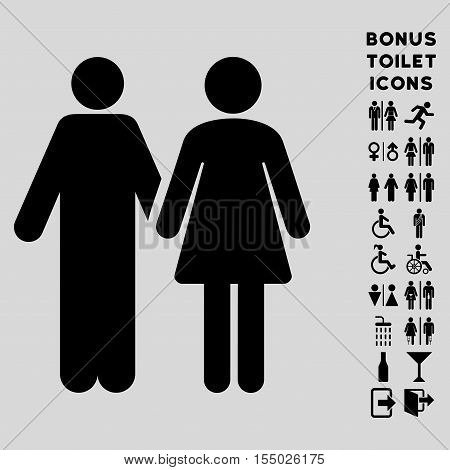 Married Couple icon and bonus gentleman and woman WC symbols. Vector illustration style is flat iconic symbols, black color, light gray background.