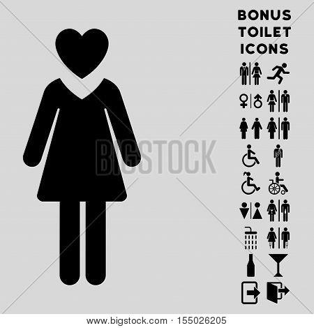 Mistress icon and bonus gentleman and lady restroom symbols. Vector illustration style is flat iconic symbols, black color, light gray background.
