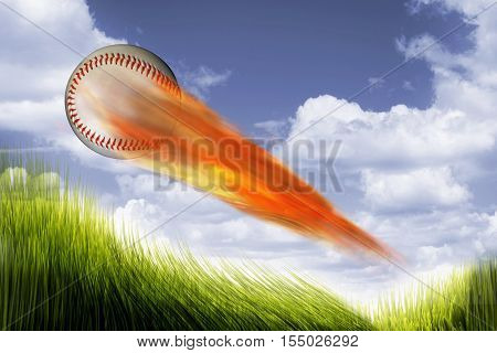 A baseball on fire speeding very fast.