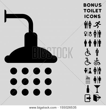 Shower icon and bonus gentleman and female restroom symbols. Vector illustration style is flat iconic symbols, black color, light gray background.