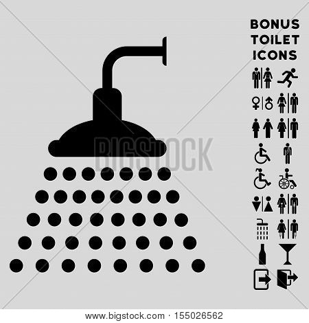 Shower icon and bonus man and female restroom symbols. Vector illustration style is flat iconic symbols, black color, light gray background.
