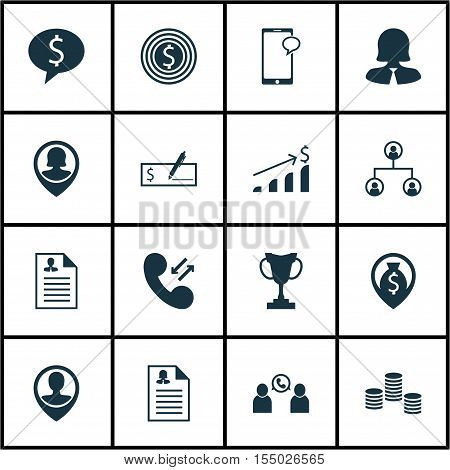 Set Of Human Resources Icons On Bank Payment, Employee Location And Business Woman Topics. Editable