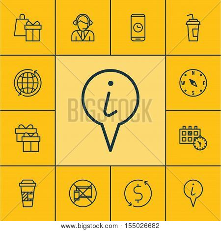 Set Of Airport Icons On Locate, Present And World Topics. Editable Vector Illustration. Includes Inf