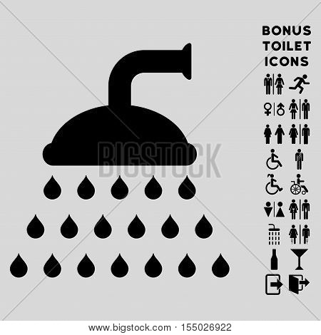 Shower icon and bonus male and woman lavatory symbols. Vector illustration style is flat iconic symbols, black color, light gray background.