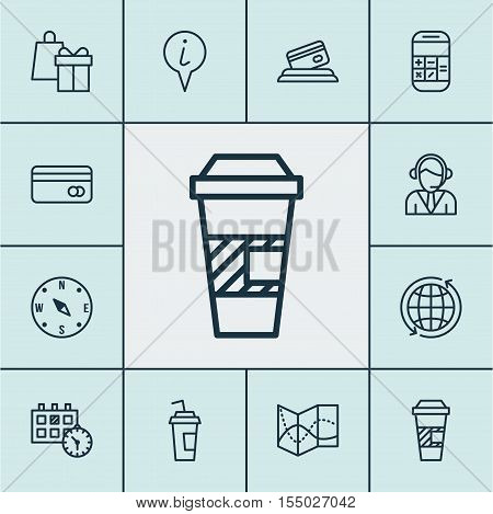Set Of Airport Icons On Shopping, Operator And Road Map Topics. Editable Vector Illustration. Includ